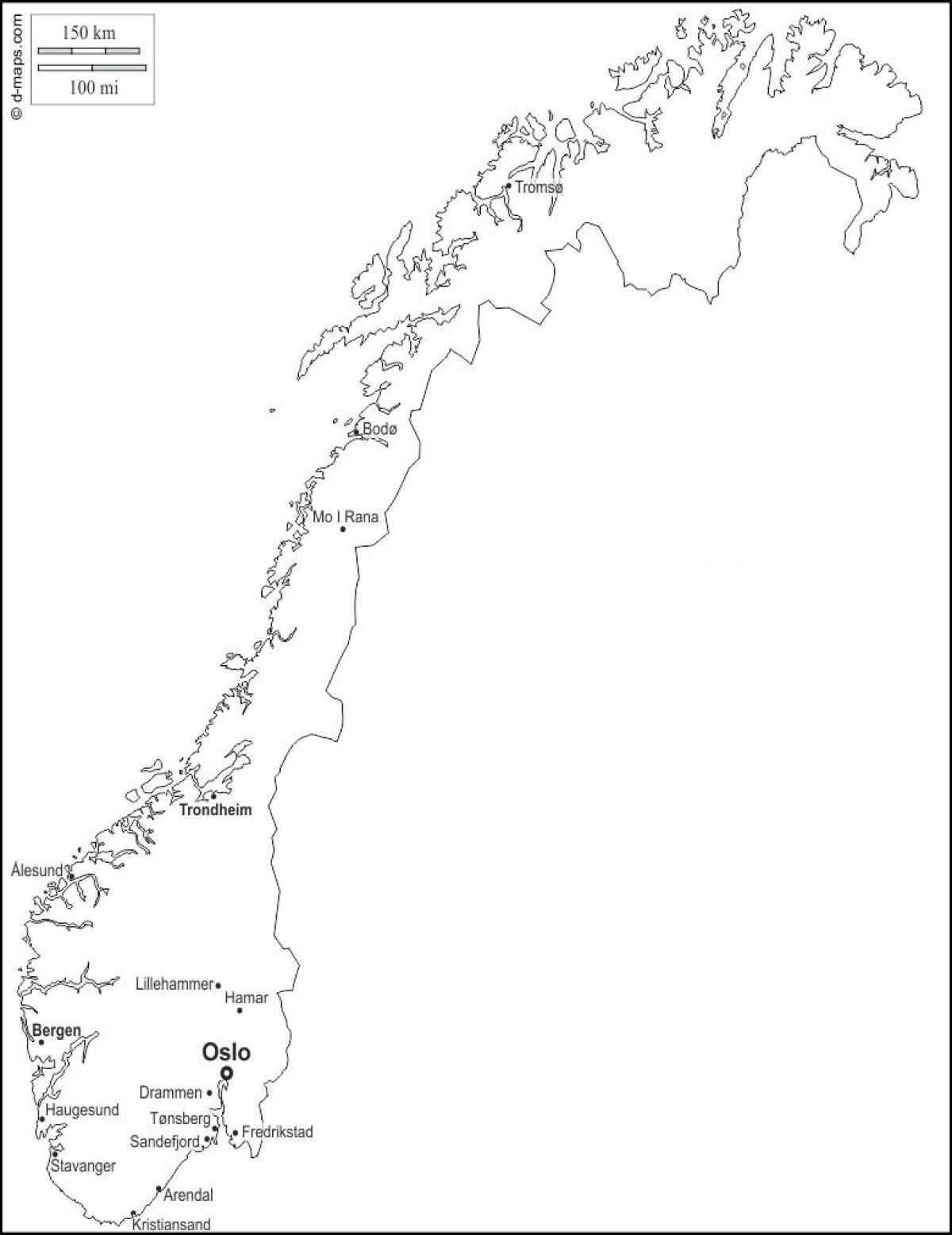 Karta Norge Stavanger.Norvegija Tuscias Map Tuscias Zemėlapis Norvegija Siaurės